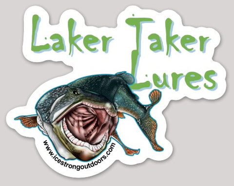 "Laker Taker Lures Die Cut Sticker 5.13"" x 4"""