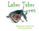 Laker Taker lures logo, helping to control the trout population