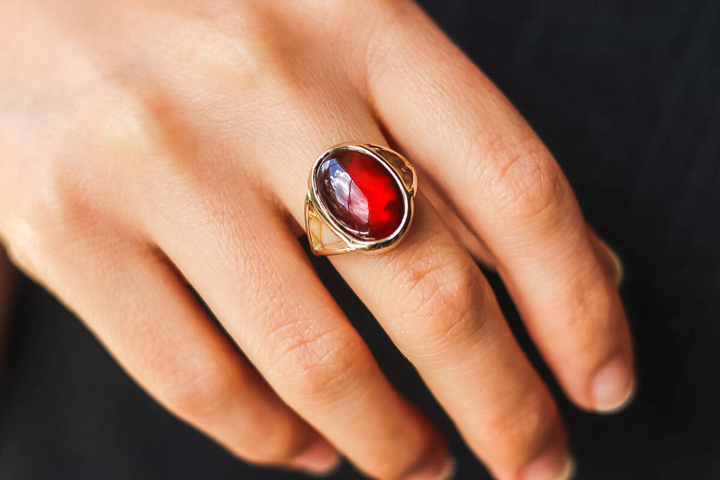 Hessonite Scarab Ring