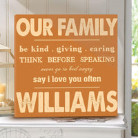 Personalized Rules of Our Family Canvas Sign