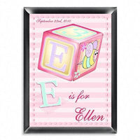 Personalized Kid's Room Signs - Girly Bee Block
