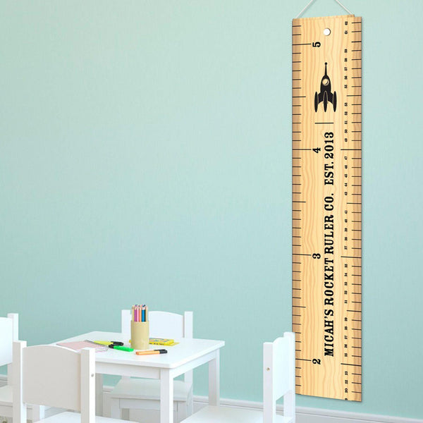 Personalized Rocket Ruler Growth Chart for Boys - Rocket Height Chart