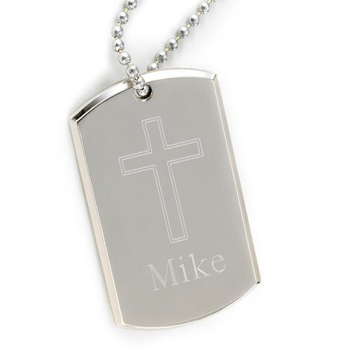 Personalized Dog Tags - Cross Necklace - Inspirational - Confirmation Gifts