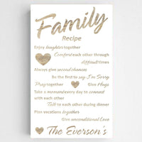 Personalized Family Recipe Canvas Sign
