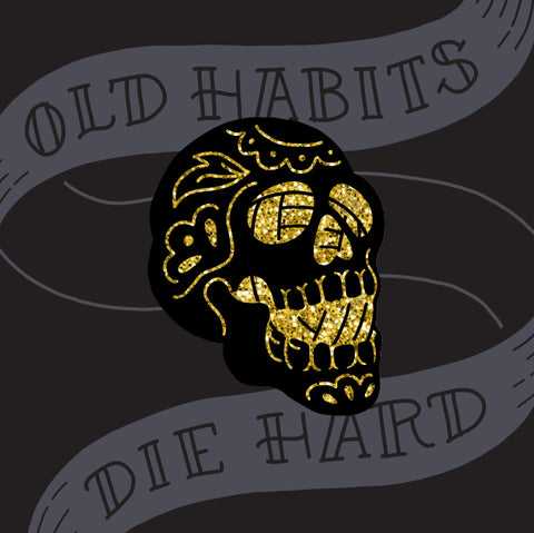 Yarn Habits Enamel Pin - Black Metal with Gold Glitter
