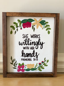 Proverbs 31:13 wood sign