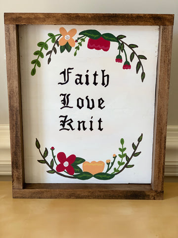 Faith, Love, Knit wood sign (Wall Decor)