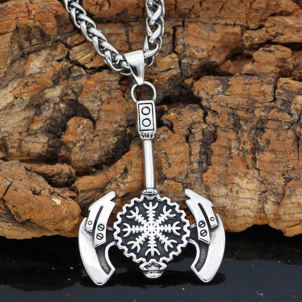 Battle Axe Necklace With Vegvisir Symbol - Odins-Glory
