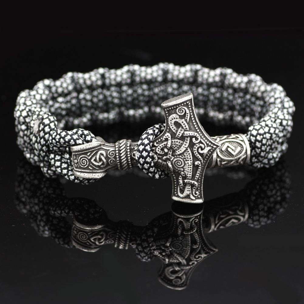 Black And White Mjolnir Paracord Bracelet - Odins-Glory