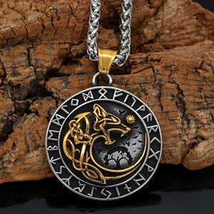 Gold Trimmed Fenrir Swallowing Sun Necklace - Odins-Glory