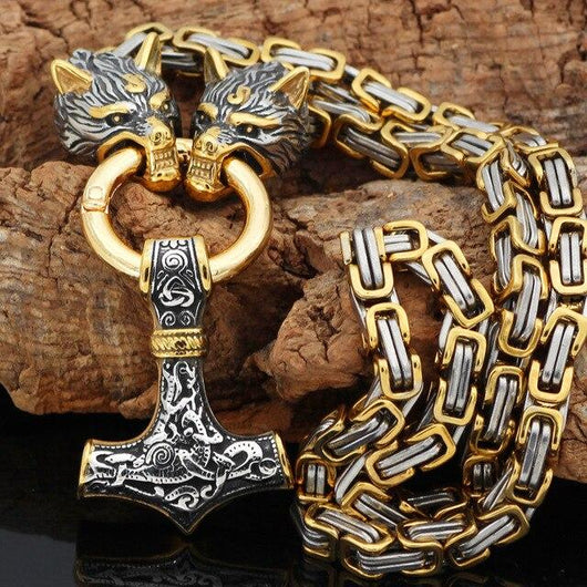Gold Trimmed King Chain With Wolf Heads & Mjolnir Pendant - Odins-Glory