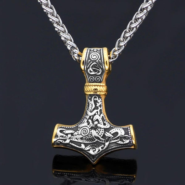 Gold Trimmed Mjolnir Necklace - Odins-Glory