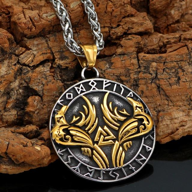 Gold Trimmed Raven Necklace With Valknut Symbol - Odins-Glory