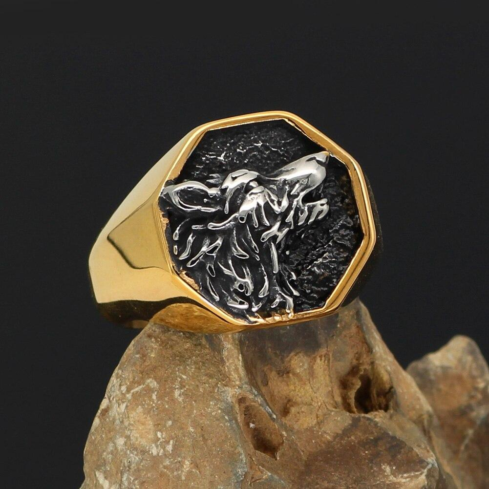 Gold Trimmed Wolf Ring - Odins-Glory