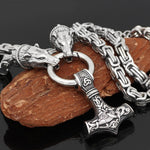 King Chain With Bear Heads & Mjolnir Pendant - Odins-Glory