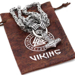 King Chain With Berserker Holding A Mjolnir Pendant - Odins-Glory