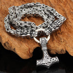 King Chain With Dragon Heads & Mjolnir Pendant - Odins-Glory
