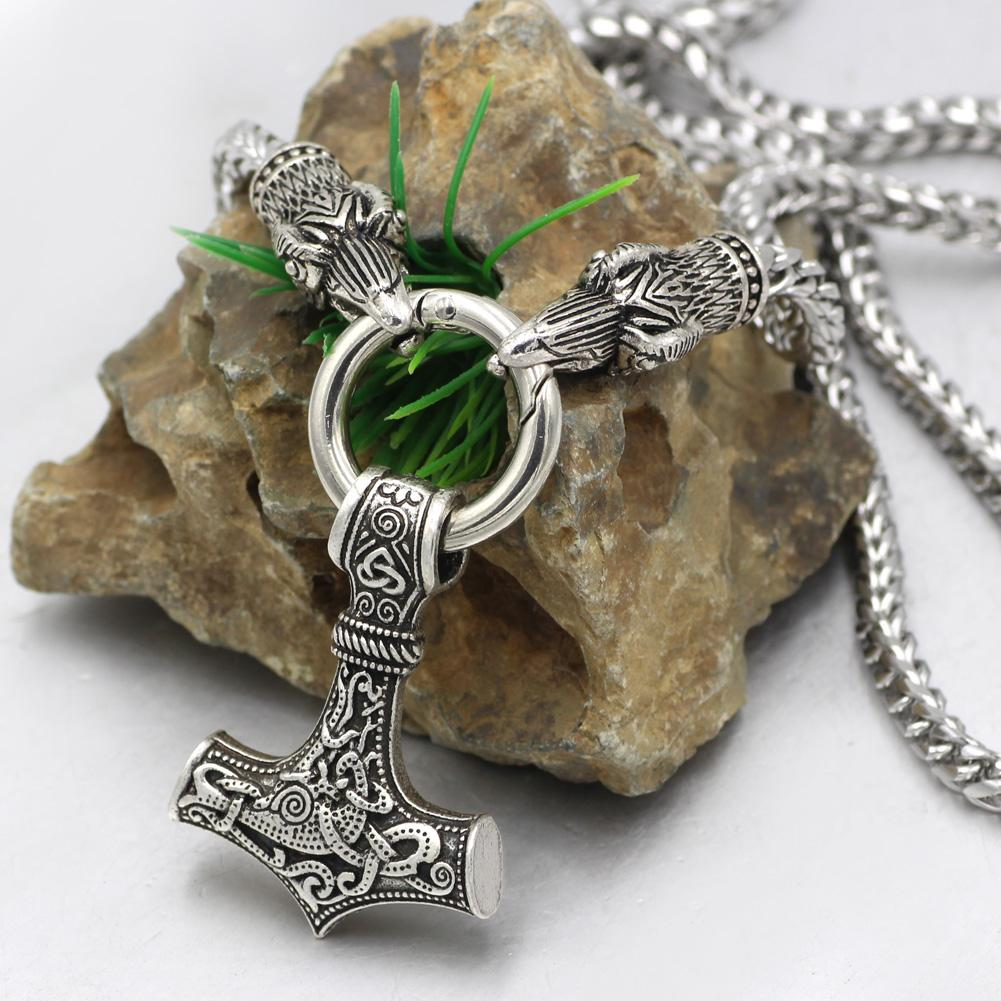 King Chain With Odin's Ravens & Mjolnir Pendant - Odins-Glory