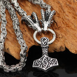King Chain With Rams Horns & Mjolnir Pendant - Odins-Glory