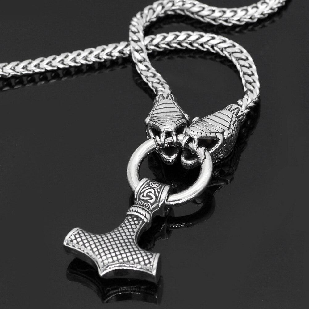 King Chain With Snake Heads & Mjolnir Pendant - Odins-Glory
