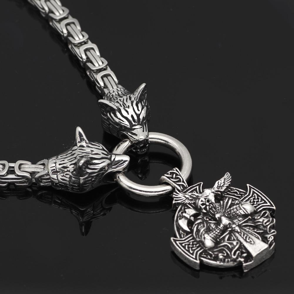 King Chain With Wolf Heads & Berserker Pendant - Odins-Glory