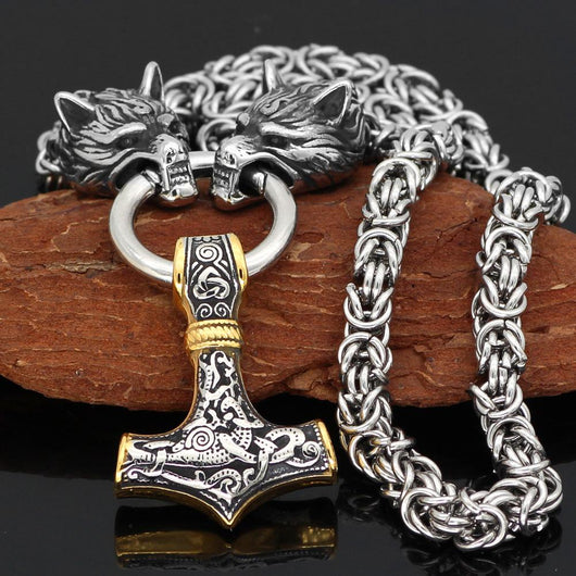 King Chain With Wolf Heads & Gold Trimmed Mjolnir - Odins-Glory