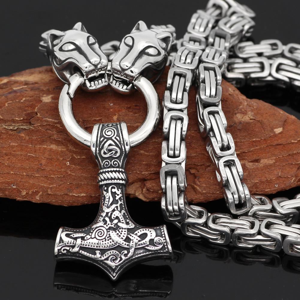 King Chain With Wolf Heads & Mjolnir Pendant - Odins-Glory