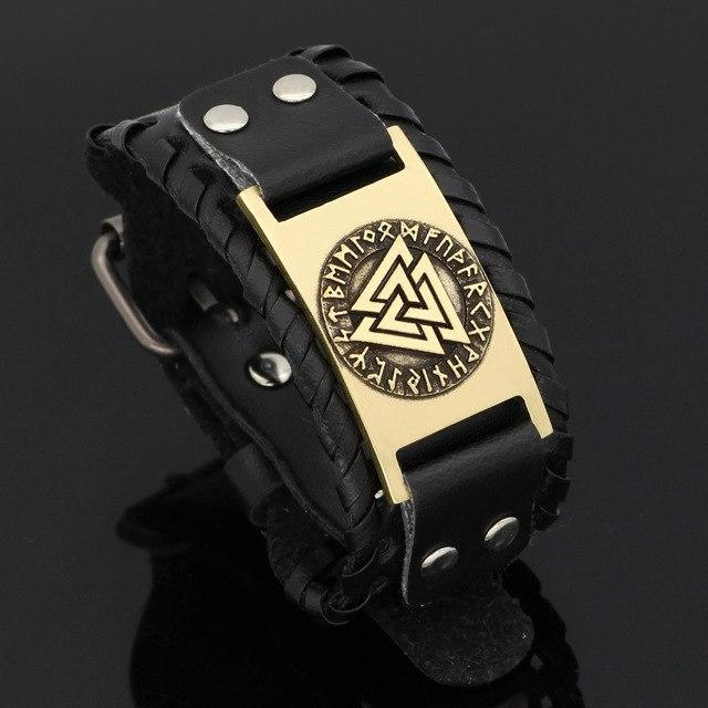 Leather Valknut Bracelet - Odins-Glory