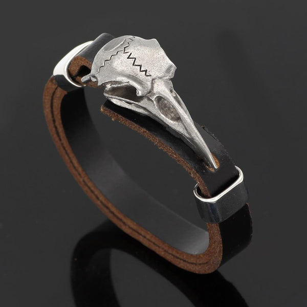Leather Viking Bracelet With Raven Skull - Odins-Glory