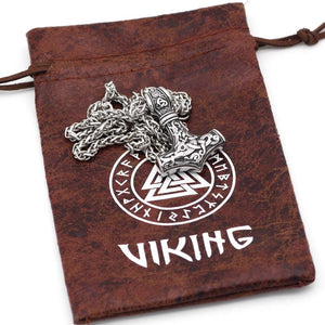 Mjolnir Necklace With Steel & Leather Chain - Odins-Glory