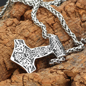 Mjolnir Necklace With Wolves & Valknut Symbol - Odins-Glory