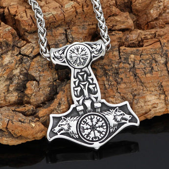 Mjolnir Necklace With Wolves & Vegvisir Symbol - Odins-Glory