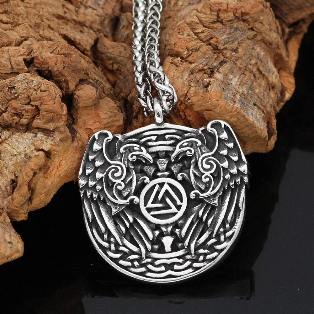 Odin's Ravens Necklace With Valknut Symbol - Odins-Glory