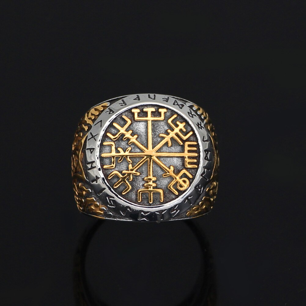 Gold Trimmed Vegvisir Ring