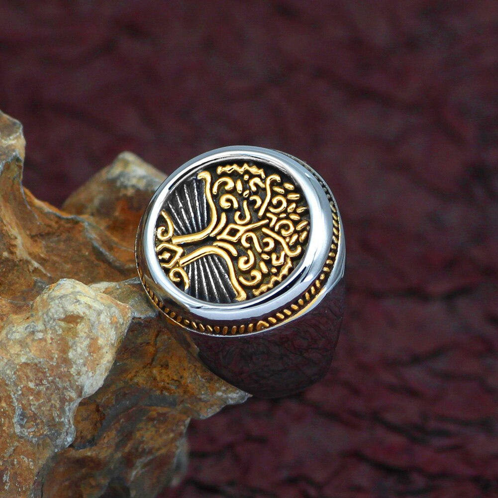 Gold Trimmed Yggdrasil Tree of Life Ring