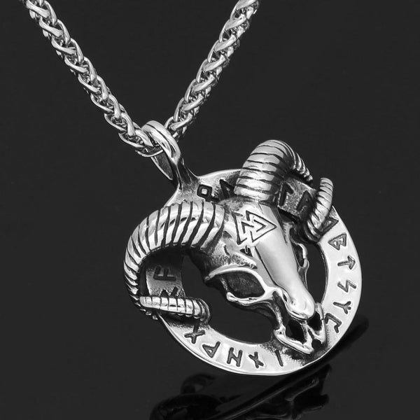 Ram Necklace With Valknut Symbol - Odins-Glory