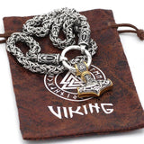 Rune King Chain With Gold Trimmed Mjolnir Pendant - Odins-Glory