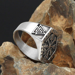Vegvisir Ring With Runes - Odins-Glory