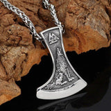 Viking Axe Necklace With Wolf And Raven - Odins-Glory