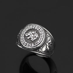 Viking Runes Wolf Ring - Odins-Glory