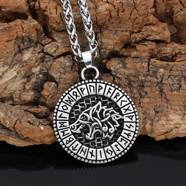 Wolf Necklace With Viking Runes - Odins-Glory