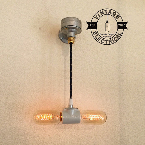The Houghton Twin porcelain industrial wall light restaurant bar pub 2 x e27 screw edison filament lamps included rustic retro vintage