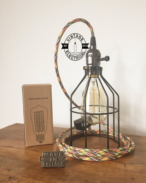 The Caston Vintage Cage Light aztec vintage retro fabric 2 metres of cable table inspection lamp reading bedside rustic + filament lamp