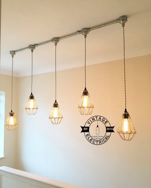 California ~ 5 x Industrial Pendant Set Cage Light | Ceiling Dining Room | Kitchen Table | Vintage 5 x Edison Filament Bulbs