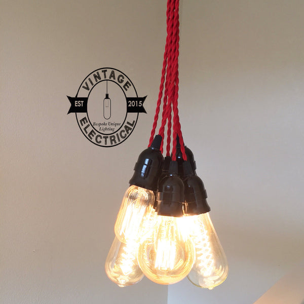 Martham ~ 7 x Industrial Cluster Pendant Set | Ceiling Dining Room | Kitchen Table Hanging Light | Vintage 7 x Edison Filament Bulbs