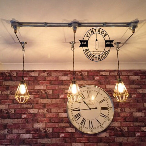 Clippesby ~ 3 x Industrial Pendant Set Cage Light | Ceiling Dining Room | Kitchen Table | Vintage 3 x Edison Filament Bulbs