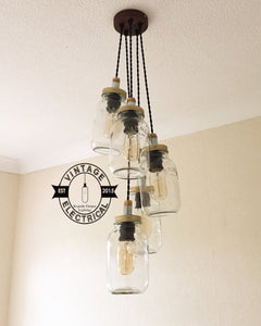 The Kelling 5 x Kilner jar hanging drop lights ceiling dining room kitchen table vintage edison filament pendant cafe pub lounge e27 lamps