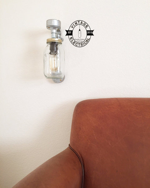 The Glandford Kilner mason jam jar wall light cable fitting retro vintage lamps steampunk metal handcrafted