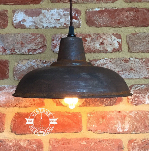 The Marsham Rusted Industrial Shade wall light factory shade light dining room kitchen table vintage edison filament lamps pendant