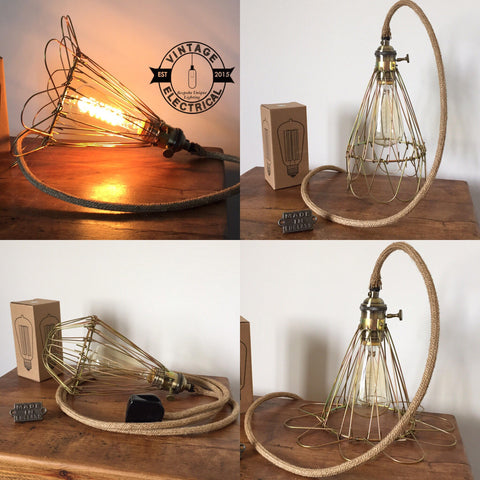The Cromer Cage rope light vintage twisted fabric 2 metres of cable table inspection lamp reading bedside rustic chabby chic + filament bulb